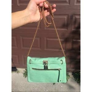 Teal Purse with Gold Chain